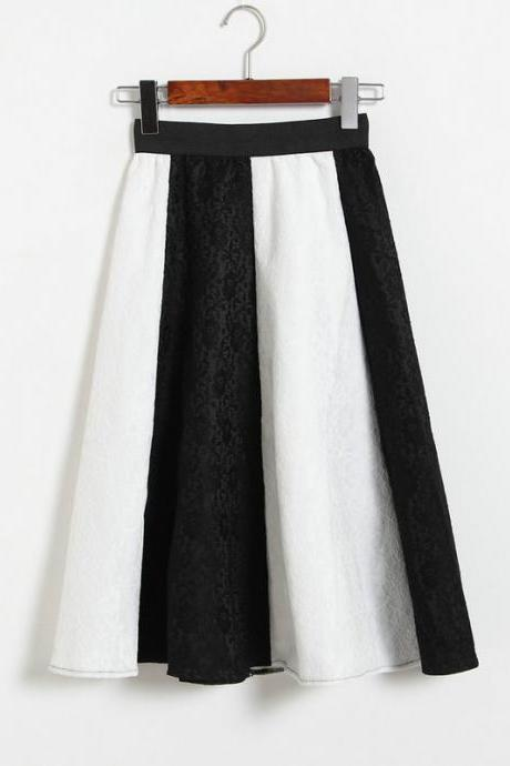 Fashion Patchwork Lace Skirt - White & Black