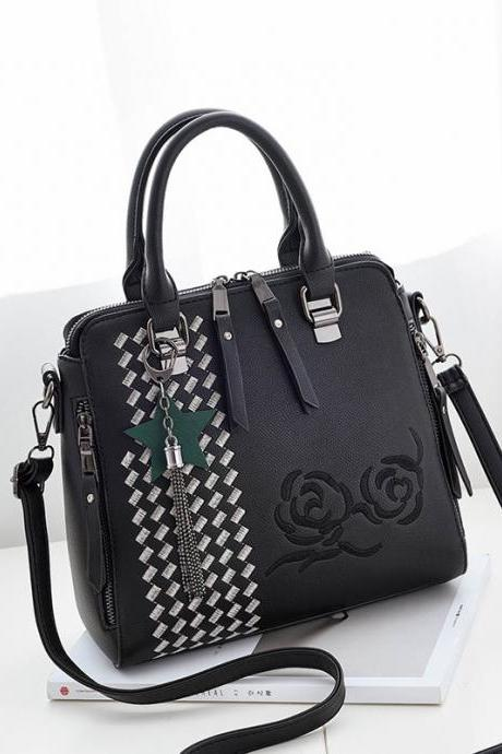 New Flower Style Women Fashion Handbag Crossbody Shoulder Bag - Black