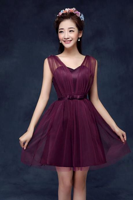 Hot ! Sweetheart Wine Red Color Wedding Bridesmaid Party Short Dress For Women