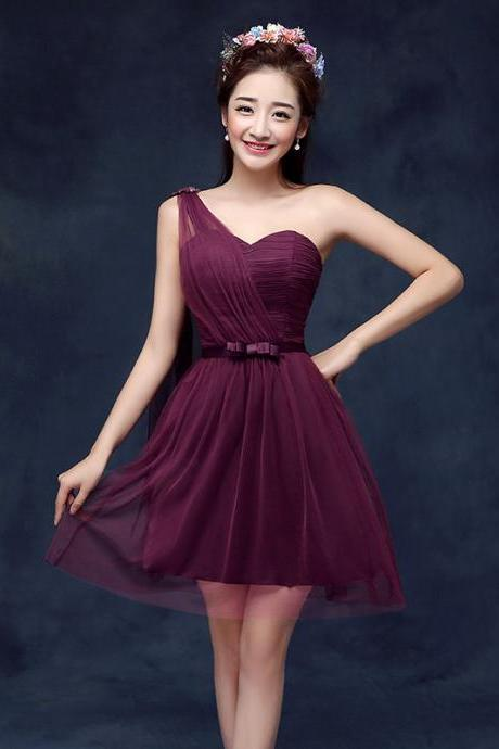 Sweetheart One Shoulder Wine Red Color Wedding Bridesmaid Party Short Dress For Women