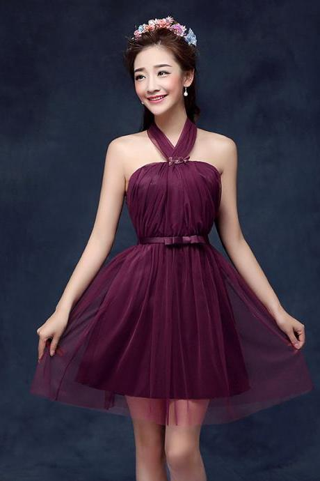 Cute Halter Wine Red Color Wedding Bridesmaid Party Short Dress For Women