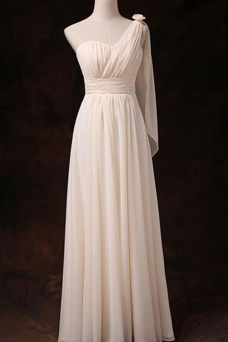 One Shoulder Good Quality Champagne Color Chiffon Party Bridesmaid Long Dress