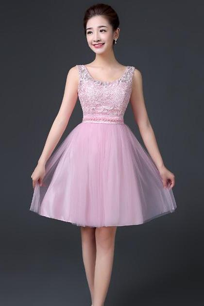 Sleeveless A-line Beaded Short Bridesmaid Dress Wedding Party Dress - Pink