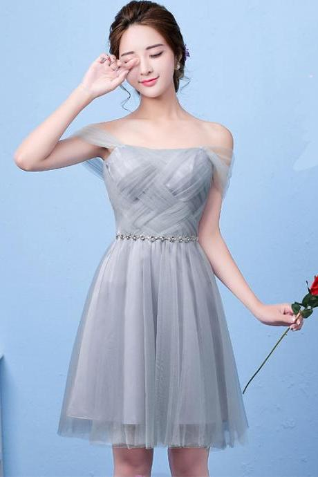 New Arrival A-line Sleeveless Elegant Short Bridesmaid Dresses - Grey