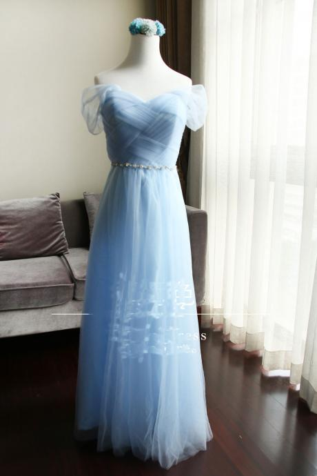 New Arrival A-line Sleeveless Elegant Long Bridesmaid Dresses - Light Blue