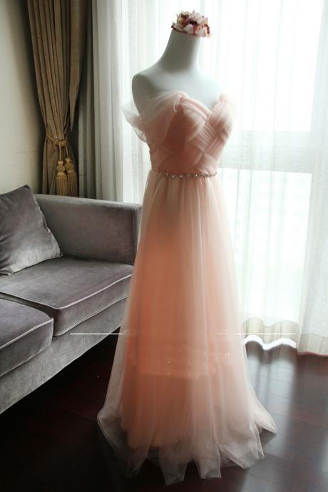 New Arrival A-line Sleeveless Elegant Long Bridesmaid Dresses - Pink