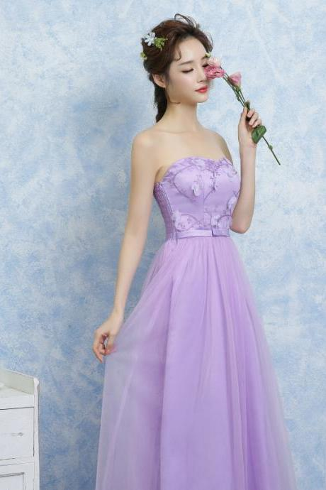 New Women Off Shoulder Gauze Evening Party Prom Bridesmaid Wedding Dress Graduation Gown - Purple