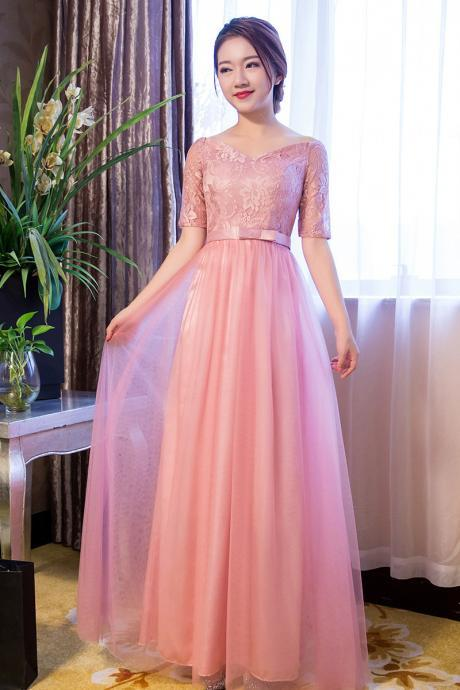 New Arrival V Neck Short Sleeve Pink Color Elegant Long Bridesmaid Dresses