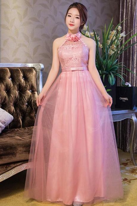 New Arrival Halter Pink Color Elegant Wedding Gown Long Bridesmaid Dresses