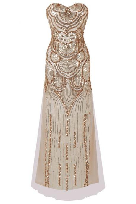 Strapless Sequined A-line Tulle Lace up Long Evening Dresses - Gold