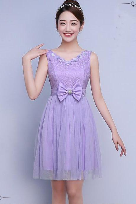 Cute Bow Mini Bridesmaid Dress Party Prom Gown - Light Purple