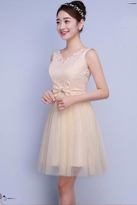 Cute Bow Mini Bridesmaid Dress Party Prom Gown - Champagne