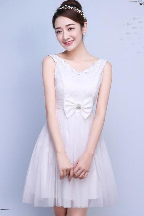 Cute Bow Mini Bridesmaid Dress Party Prom Gown - White