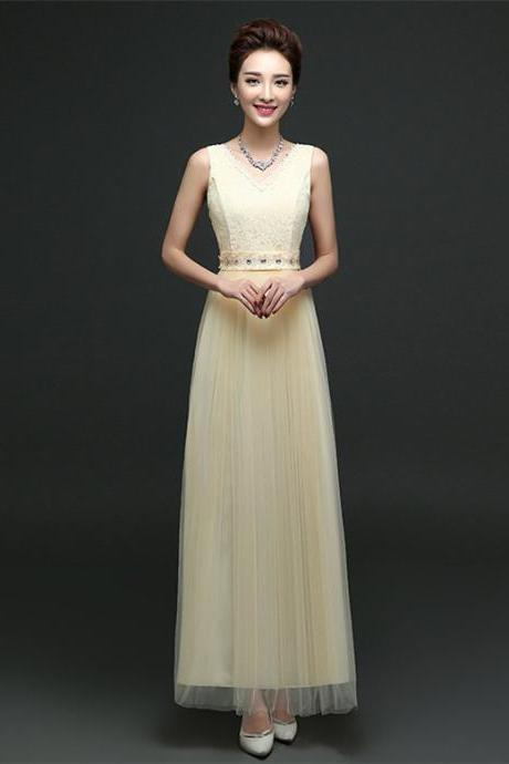New Arrival Sleeveless Bridesmaid Dresses Long One Szie Evening Party Maid Dresses - Champagne