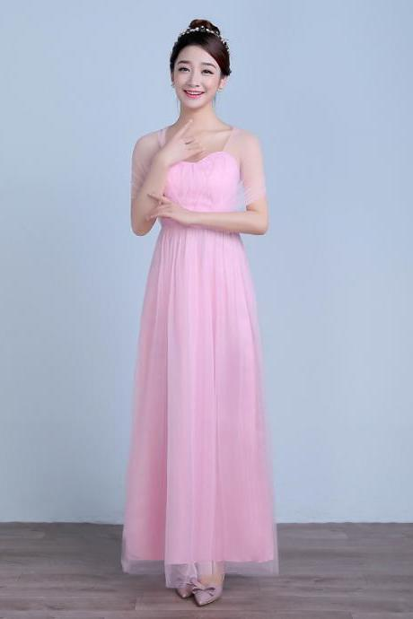 Convertible Long Wedding Bridesmaid Dresses Formal Party Dresses - Pink