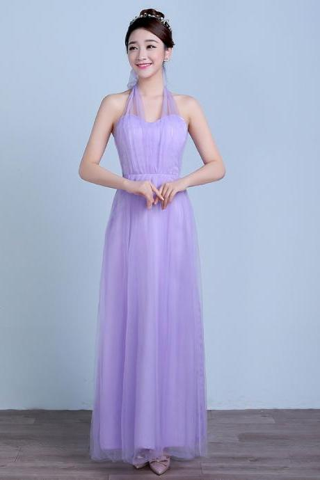 Convertible Long Wedding Bridesmaid Dresses Formal Party Dresses - Purple