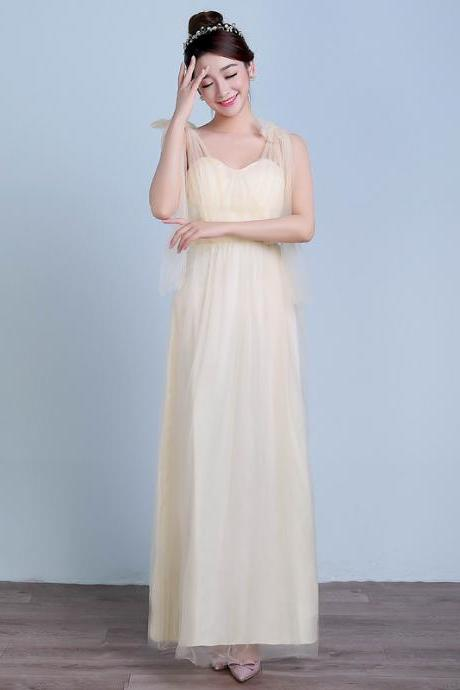 Convertible Long Wedding Bridesmaid Dresses Formal Party Dresses - Champagne