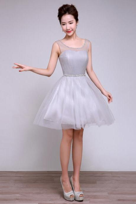 Sweetheart Grey Color Round Neck Patchwork Wedding Women Gown Bridesmaid Party Mini Dress