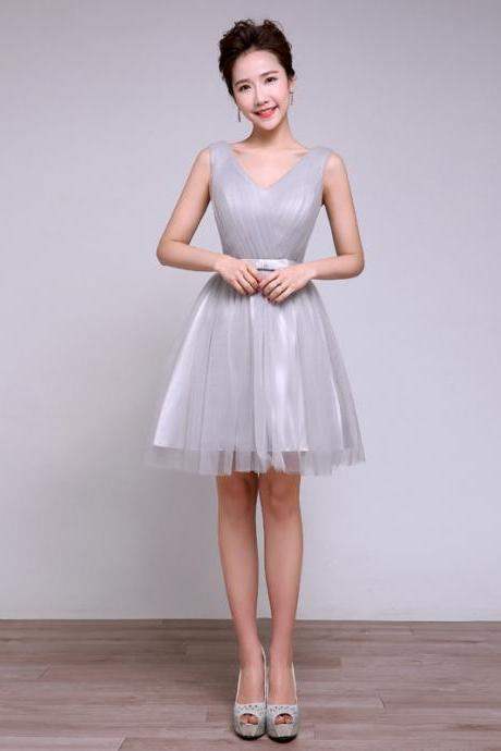 Sweetheart Grey Color V Neck Patchwork Wedding Women Gown Bridesmaid Party Mini Dress