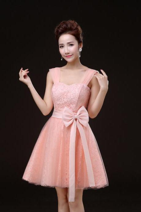 Charming Pink Sleevless Lace Mini Girl/Young Lady/Women's Dresses Bridesmaids Party/Prom/Ball Gown