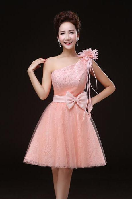Charming Pink One Shoulder Lace Mini Girl/Young Lady/Women's Dresses Bridesmaids Party/Prom/Ball Gown