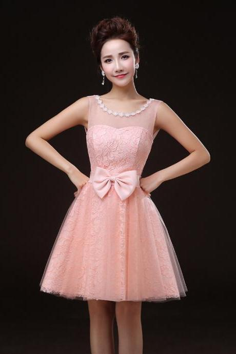 Charming Pink Round Neck Sleevless Lace Mini Girl/Young Lady/Women's Dresses Bridesmaids Party/Prom/Ball Gown