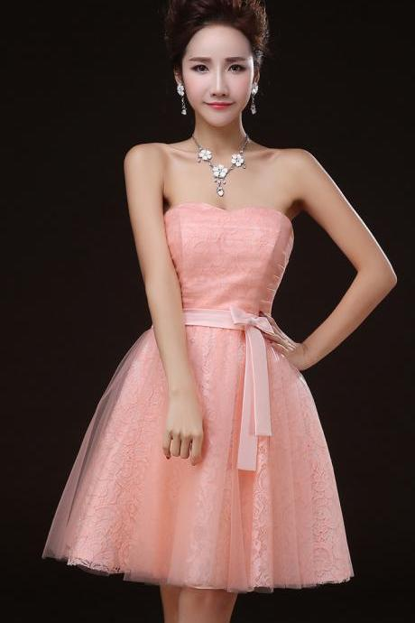 Charming Pink Off Shoulder Lace Mini Girl/Young Lady/Women's Dresses Bridesmaids Party/Prom/Ball Gown