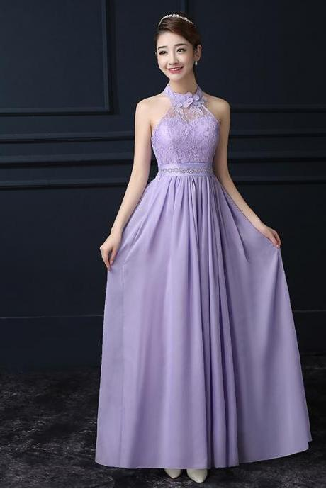Purple Chiffon Halter Long Bridesmaid Wedding Party Dress