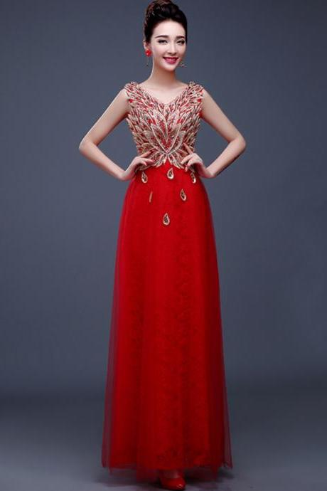A Line Party Gowns Formal Gown V-neck Satin Beaded Peacock Pattern Evening Dress - Red