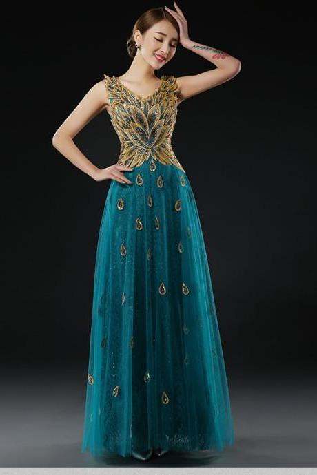 A Line Party Gowns Formal Gown V-neck Satin Beaded Peacock Pattern Evening Dress - Green