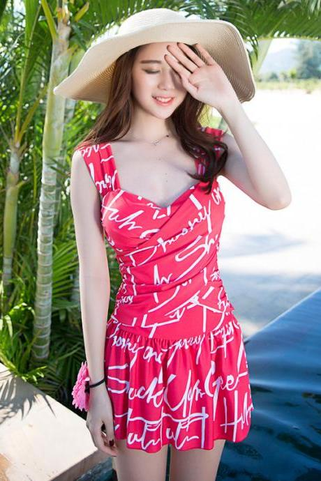 New Women Solid One Piece Swimsuits Ruffles Swimwear Dress - Red