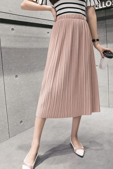 Pink High Rise Elasticised Midi Pleated Skirt