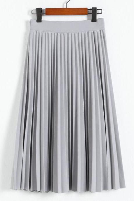 Grey High Rise Midi Pleated A-Line Skirt