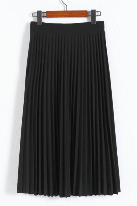 Black High Rise Pleated A-Line Maxi Skirt