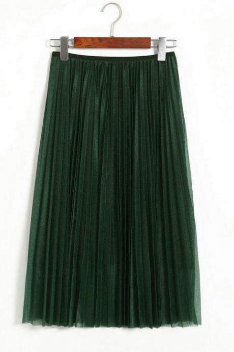Women Maxi Pleated Skirt 3 Colors
