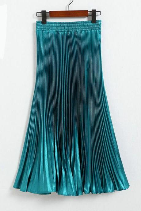 Autumn Satin Summer Casual Smooth Women Elastic Pleated Long Skirt - Green