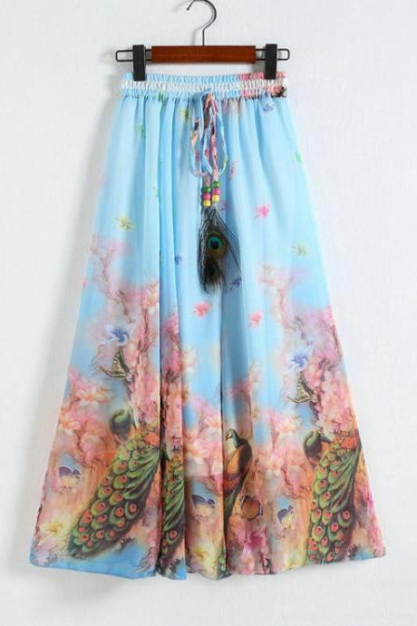 New Peacock Pattern Chiffon Long Skirt