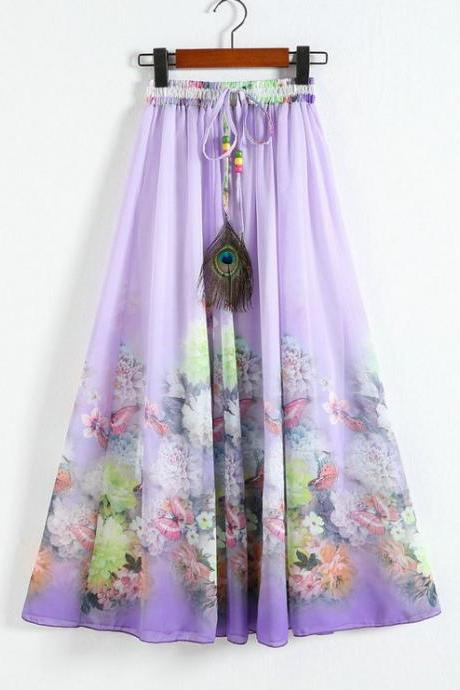 New Purple Printing Pattern Chiffon Long Skirt For Women