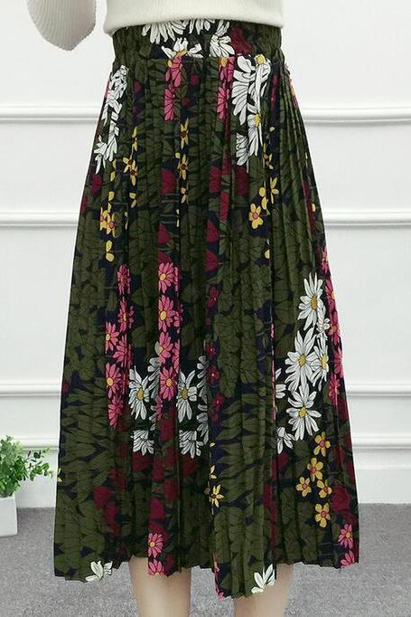 Flower Print Skirt - Green