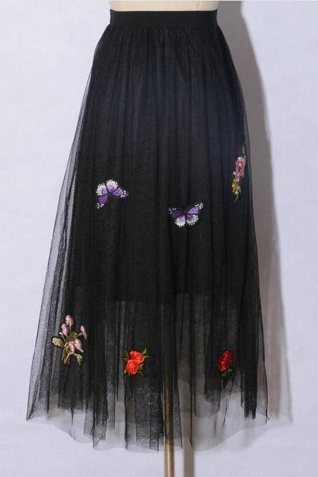Women Tutu Long Skirt Adorned with Butterfly and Floral Patches - Black