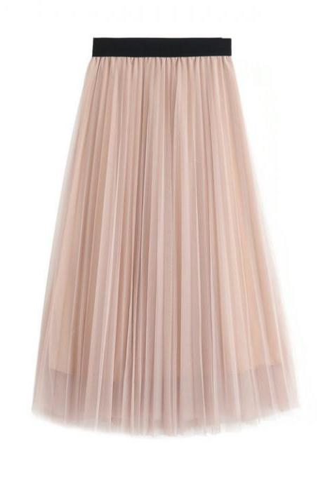 Pink High Rise Tulle Pleated A-Line Midi Skirt
