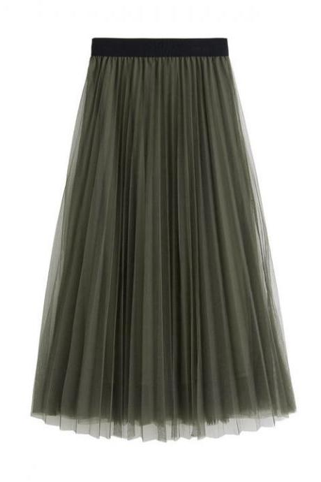 Women Slim High Waist Pleated Solid Color Skirt Skirts - Amy Green