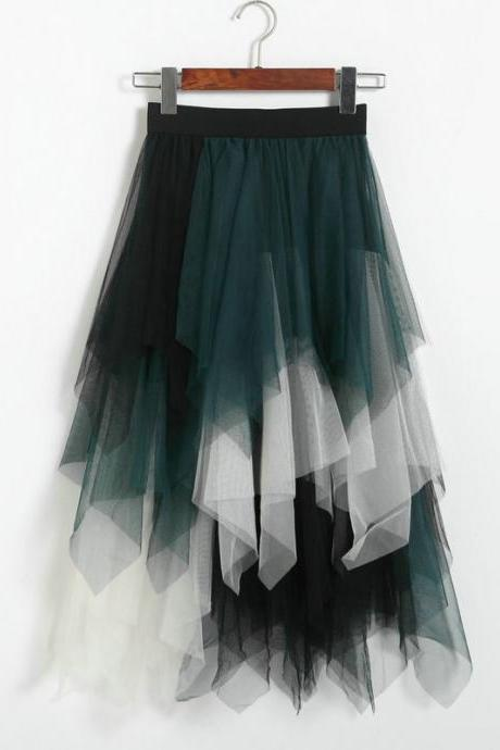 New Patchwork Irregular Skirt - Green&White