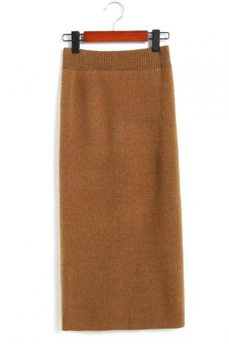 New Spring Autumn Sexy Pencil Skirts Women Knit Package Hip Long Skirt - Khaki