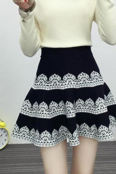 new autumn and winter knitting slim A-line skirt