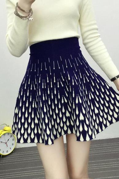New High Waist Knitting Slim A-line Skirt