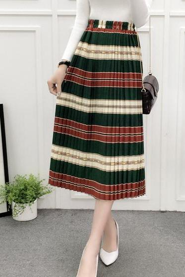 Stripe Red And Green Color Long Maxi Skirt