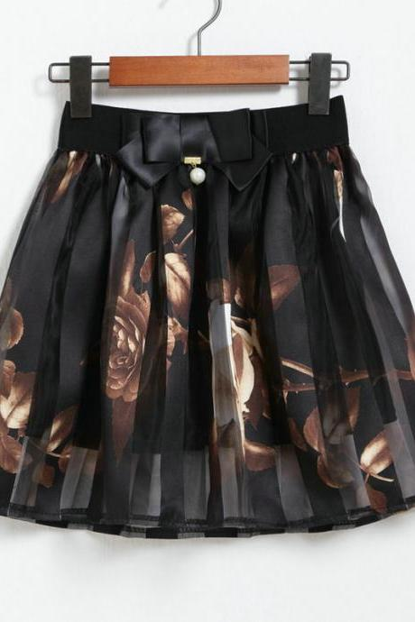 Spring Summer Casual Floral Fashion Skirts - Black
