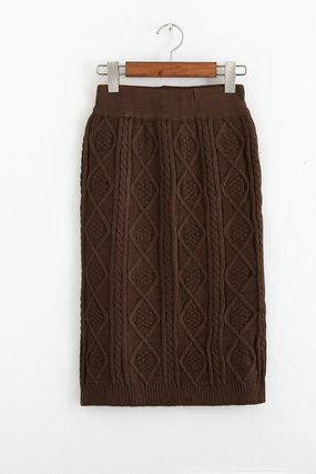 Autumn Winter High Waist Knitting Skirt - Khaki