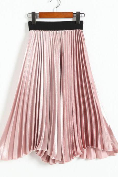 Autumn satin long skirt summer Casual smooth women skirt high waist skirt Elastic pink pleated skirt - Pink